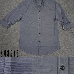 Sm-3216 áo sơ mi nam tay dài trơn màu xám nhạt