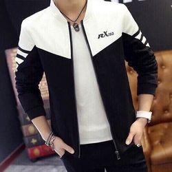 Ak-4095 áo khoác nam kaki lót dù in chữ rx150 đen phối trắng