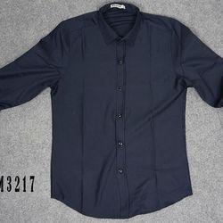 Sm-3217 áo sơ mi nam tay dài trơn màu xanh đen