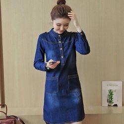 Thoitrangmailan.com.vn_ đầm jeans cổ trụ đính nút cao cấp