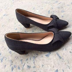 Li651- giày cao gót nơ hoa loa kèn si bố giá sỉ