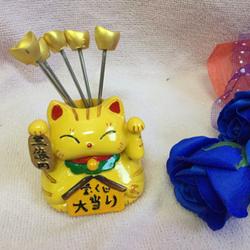 Bộ 5 nĩa ghim trái cây hình mèo phát tài maneki neko