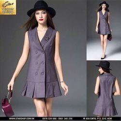 d5139 đầm cổ vest phối lai xếp ly- sỉ 5 cái bất kỳ giá 135k - chất vải boy hàn quốc giá sỉ