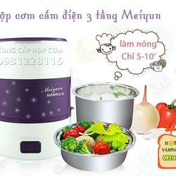 Hộp cơm hâm nóng cắm điện inox 3 tầng meiyun giá sỉ