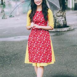 Sét áo dài chân váy hoa nhí