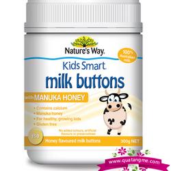 """Nature""""s way kids smart milk buttons with manuka honey 150 chewable buttons - viên nhai sữa tươi hương mật ong dành cho trẻ em trên 3 tuổi giá sỉ"""