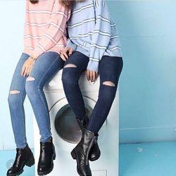 Quần jeans dài nữ lưng cao rách ngang gối r5