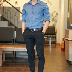 Sm3253 áo sơ mi nam tay dài màu xanh jean