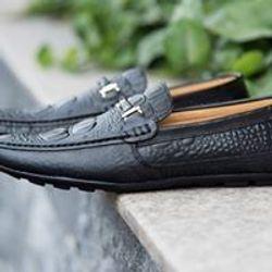 Giày lười nam da bò vân cá sấu