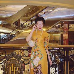*sb3531* set áo dài in hoa đào kèm váy xòe - sỉ 5 cái bất kỳ giá 225k - chất áo gấm in 3d, váy voan