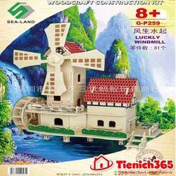Đồ chơi lắp ghép gỗ mô hình cối xay gió giá sỉ