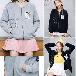 Ak-4101 áo khoác nữ vải nỉ in hình cô gái