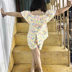 Bung lô bộ bé gái đuôi tôm bèo vai siêu cute chất liệu vải linon co giản tốt giá sỉ