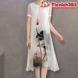 Đầm suông lụa họa tiết hoa sen d0366