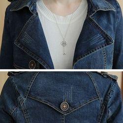 Áo khoác jean phom dài dây đai rời