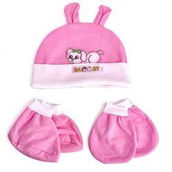 Set nón bao tay va bao chân cho bé sơ sinh
