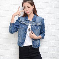 áo khoác jeans ngắn nắp túi cách điệu ak0389 giá sỉ