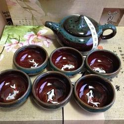 Bộ ấm và 6 tách trà 3d hình con cá giá sỉ