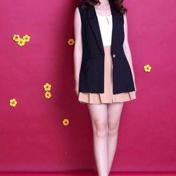 Set bộ 3 món váy xếp ly kèm áo vest áo trong - sỉ 5 cái bất kỳ giá 165k - chất vải cotton lạnh thun cotton