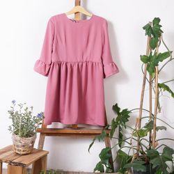 Đầm suông tay chuông - màu hồng nude