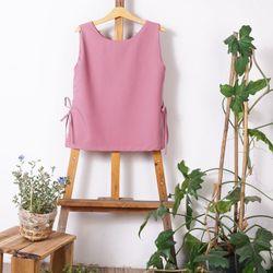 Áo kiểu - áo thắt nơ - màu hồng tái