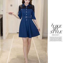 Đầm jean xòe phối ren kèm nịt hn1219