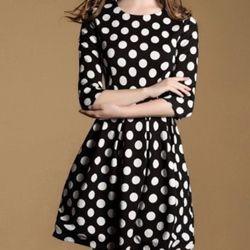 Đầm xòe tay lỡ chấm bi nks-1487