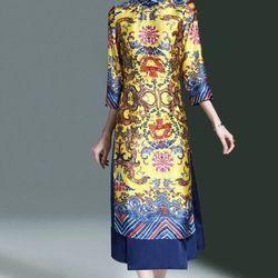 Hàng nhập - áo dài dạng váy họa tiết cung đình