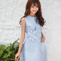 Đầm xanh suông phối đính nơ - giá sỉ, giá tốt