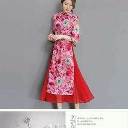 Đầm kiểu áo dài  sang trọng   hàng nhập hông kông