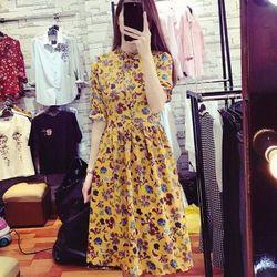Đầm xòe hoa tay lỡ - sỉ 5 cái bất kỳ giá 150k - chất vải voan in 3d giá sỉ