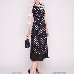 Set áo dài bi kết ren phối váy xòe - sỉ 5 cái bất kỳ giá 170k - chất vải voan y hình