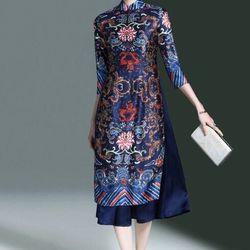 - áo dài dạng váy họa tiết cung đình màu xanh giá sỉ