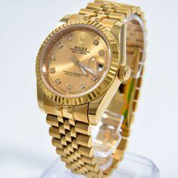 Đồng hồ thời trang nam nữ vàng kim đính đá chống nước – 527