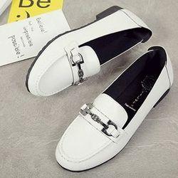 Giày lười nữ khóa ngang thời trang trắng ms15741 giá sỉ