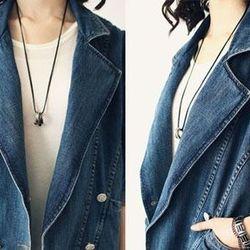 Áo khoác jean nữ kiểu giả vest túi lớn ms: 15400
