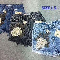 Short jean thêu hoa