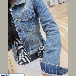 Áo khoác jean nữ 2 túi đắp cá tính ms15247