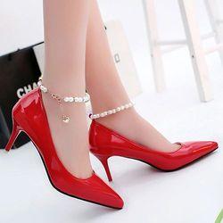 Giày cao gót có vòng ngọc trai có 1 hạt rủ xuống tuyệt xinh-157 giá sỉ
