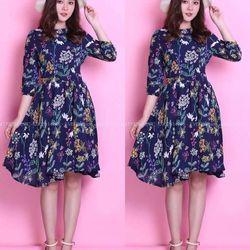Đầm xòe in hoa - sỉ 5 cái bất kỳ giá 153k - chất vải voan tầm ý in 3d giá sỉ