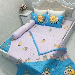 Set chăn ga gối cotton poly hè
