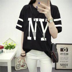Msat26: áo thun nữ ny phối sọc màu đen