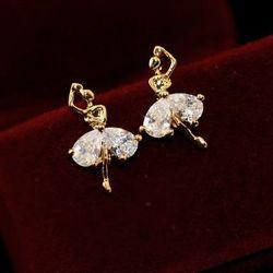Bông tai nữ múa pha lê đính đá zircon cao cấp (ko dị ứng) ab549