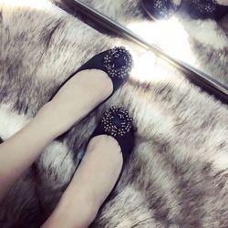 Giày búp bê hoa vuông