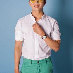Sm3261 áo sơ mi nam tay dài trắng