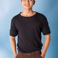 Nb28 áo thun nam tay dài gân sọc đen