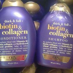 Bộ dầu gội và dầu xả ogx thick & full biotin & collagen 385ml
