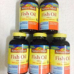 Dầu cá fish oil 1200 mg 360 mg omeg 3 nature made 200 viên cho trái tim khỏe mạnh giá sỉ