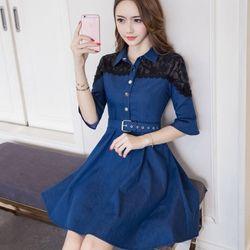 Đầm váy ( đầm jean phối ren kèm nịt )