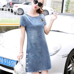 Đầm váy ( đầm jean suông phối nút )